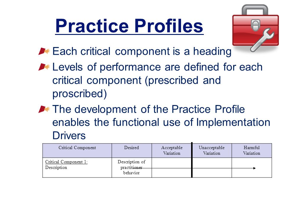 Practice Profiles Each critical component is a heading
