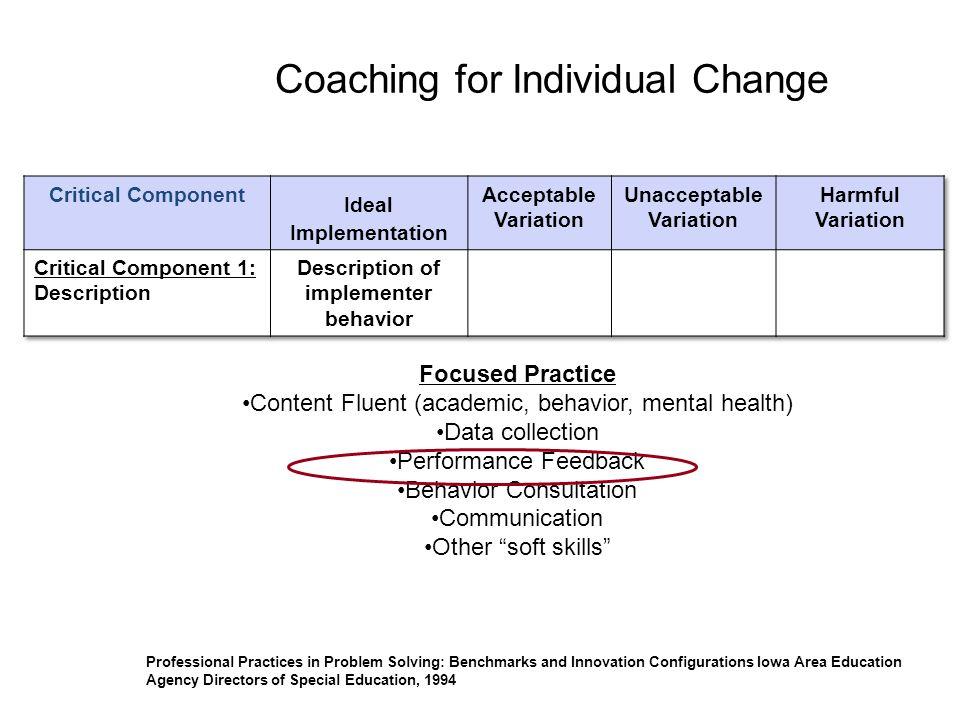 Coaching for Individual Change
