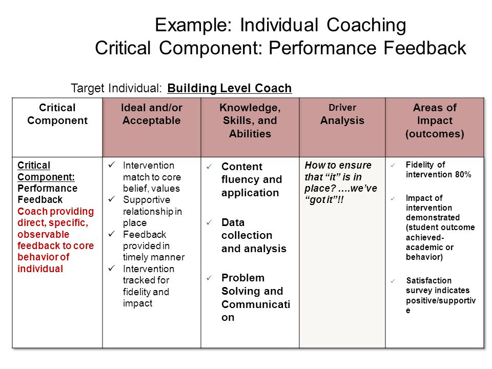 Example: Individual Coaching Critical Component: Performance Feedback