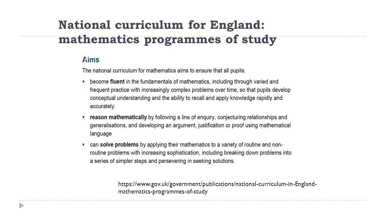 National curriculum for England: mathematics programmes of study