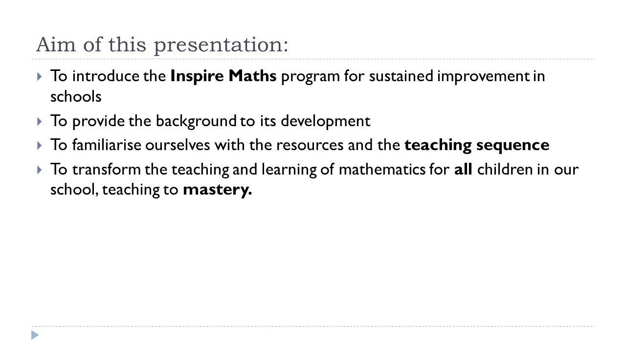 Aim of this presentation: