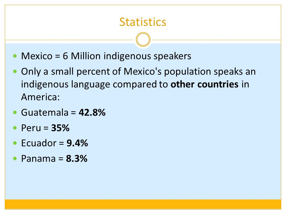 Statistics Mexico = 6 Million indigenous speakers