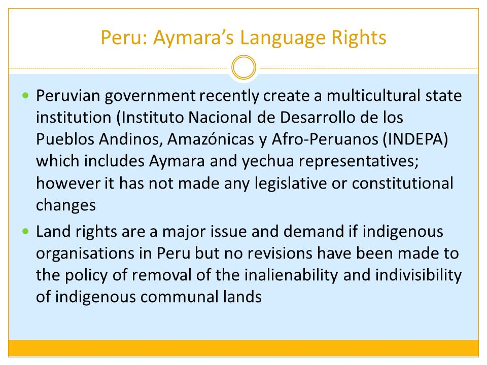 Peru: Aymara's Language Rights