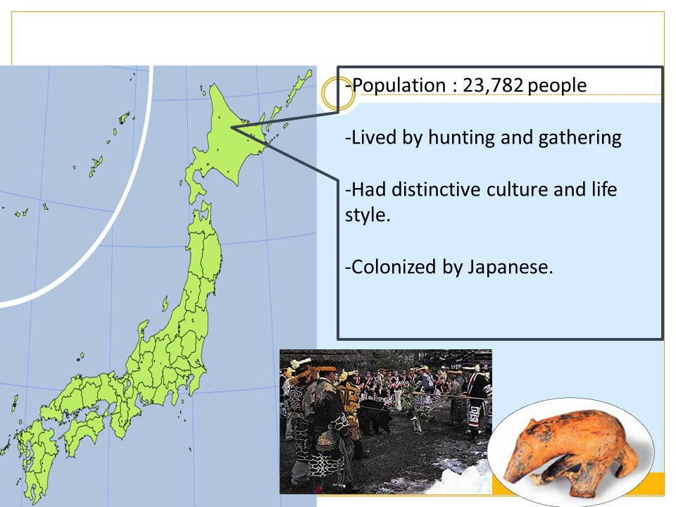 -Population : 23,782 people Lived by hunting and gathering
