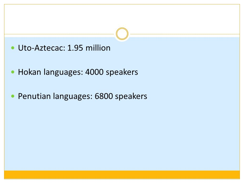 Uto-Aztecac: 1.95 million Hokan languages: 4000 speakers Penutian languages: 6800 speakers