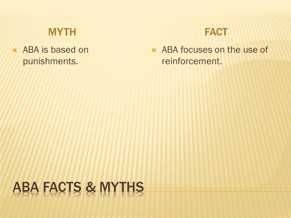 ABA Facts & myths Myth fact ABA is based on punishments.
