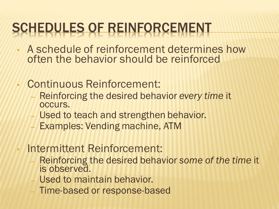 how do schedules of reinforcment affect Reinforcement provided to whichever schedule (interval or ratio) requirements are met first- second chance for reinforcement term adjunctive behavior definition collateral effect of a schedule of periodic reinforcement for other behavior time filling or interim activities.