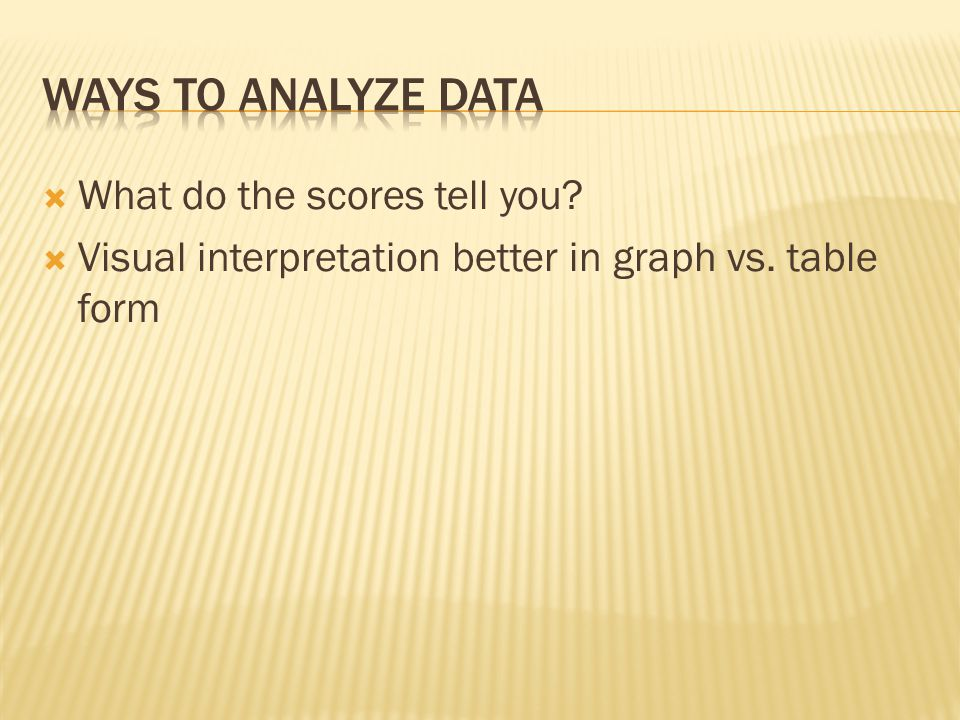 WAYS TO ANALYZE DATA What do the scores tell you
