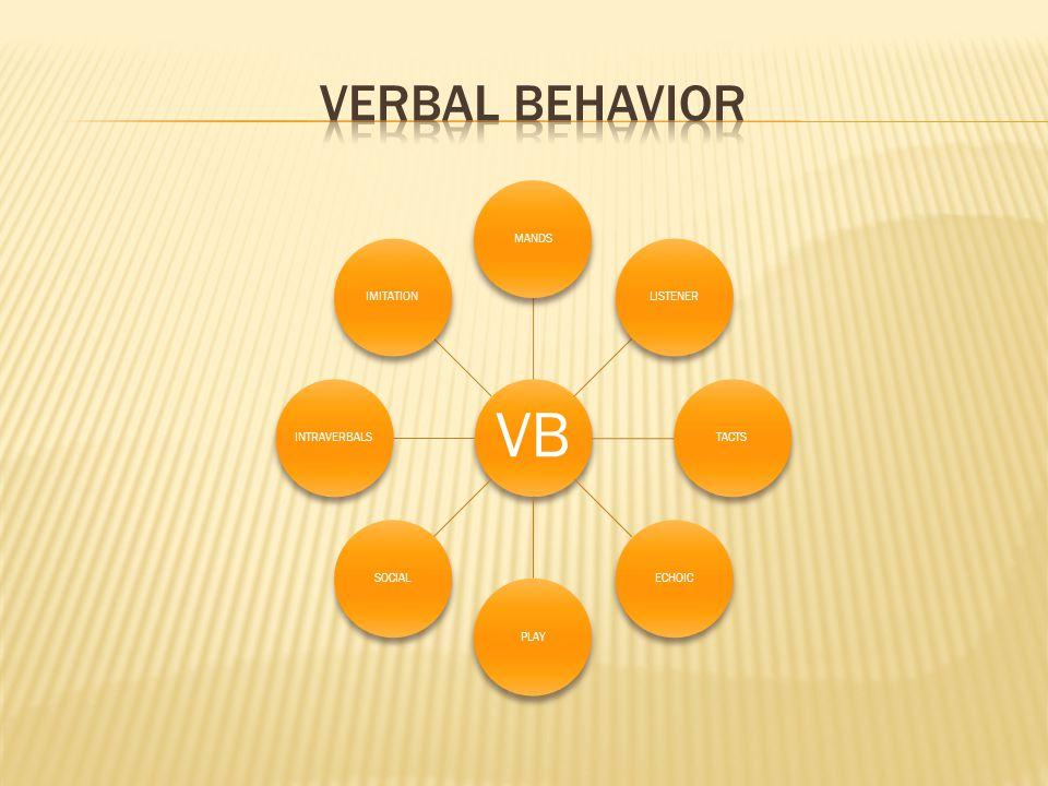 VERBAL BEHAVIOR VB MANDS LISTENER TACTS ECHOIC PLAY SOCIAL