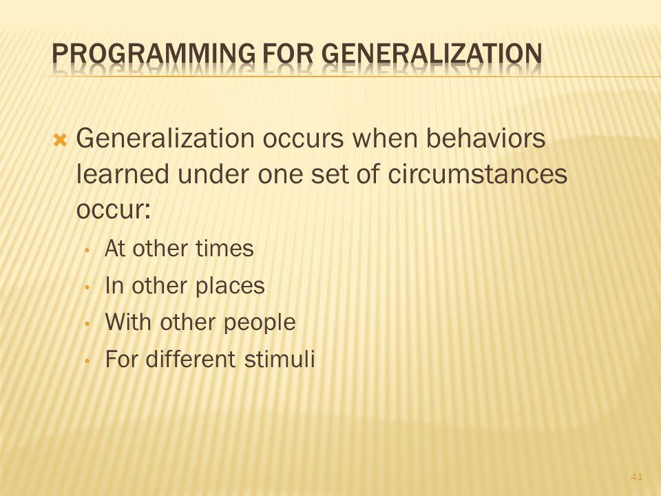 Programming for Generalization