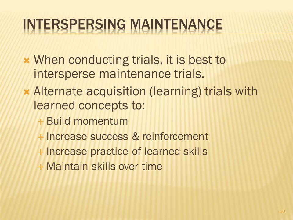 Interspersing Maintenance