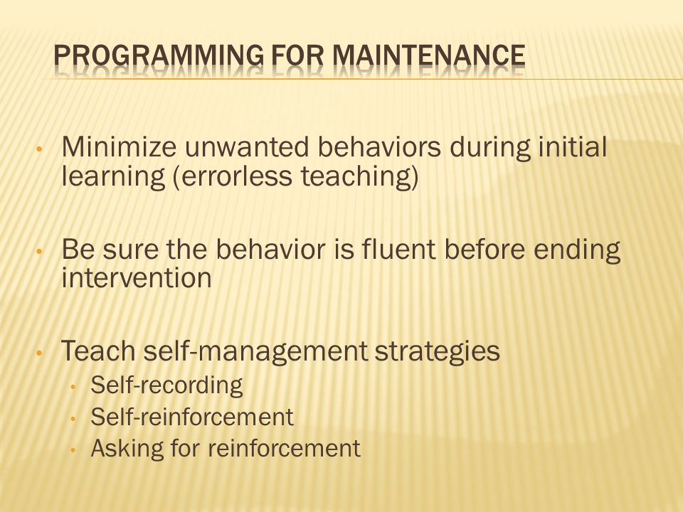 Programming for Maintenance