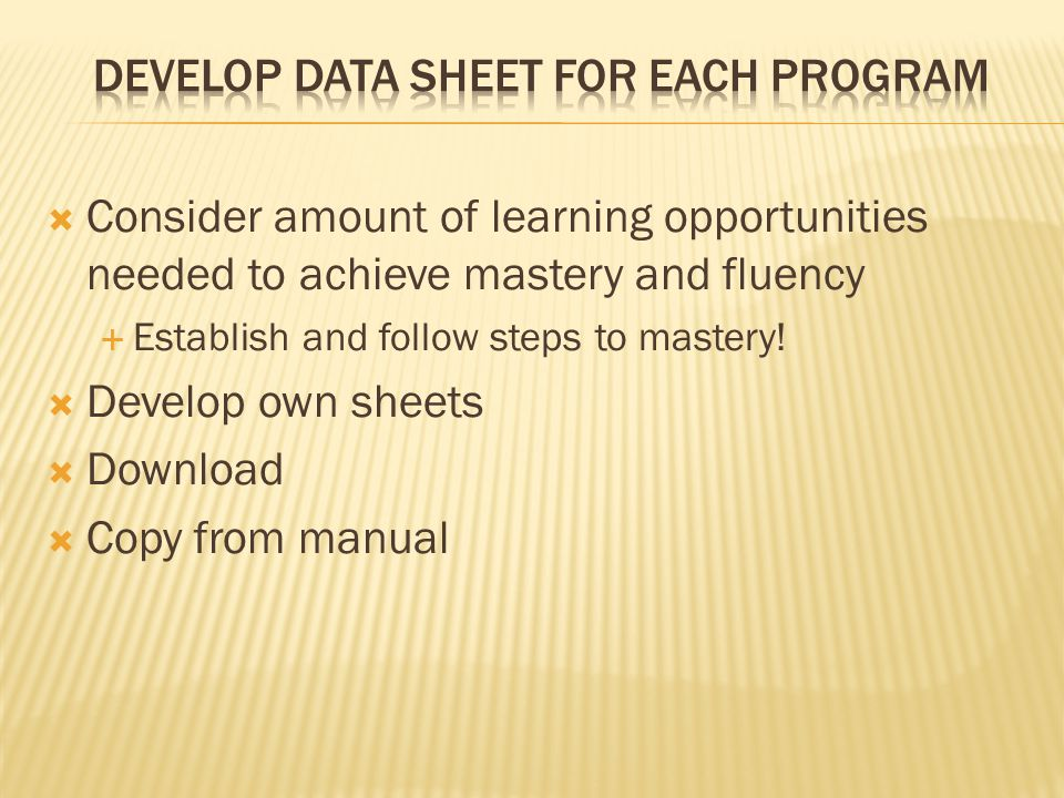Develop Data Sheet for EACh program