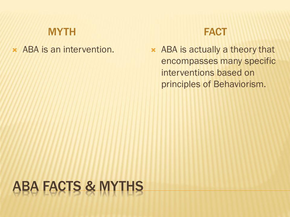 ABA Facts & myths Myth fact ABA is an intervention.