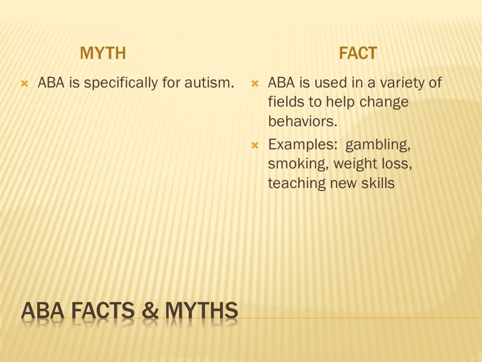 ABA Facts & myths Myth fact ABA is specifically for autism.