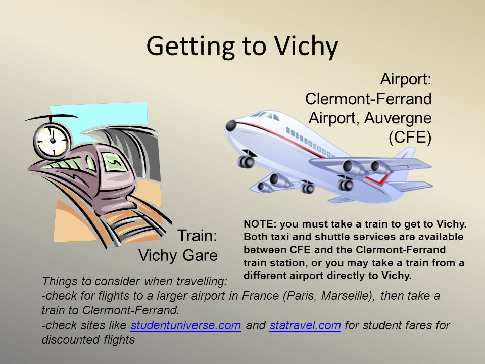 Getting to Vichy Airport: Clermont-Ferrand Airport, Auvergne (CFE)