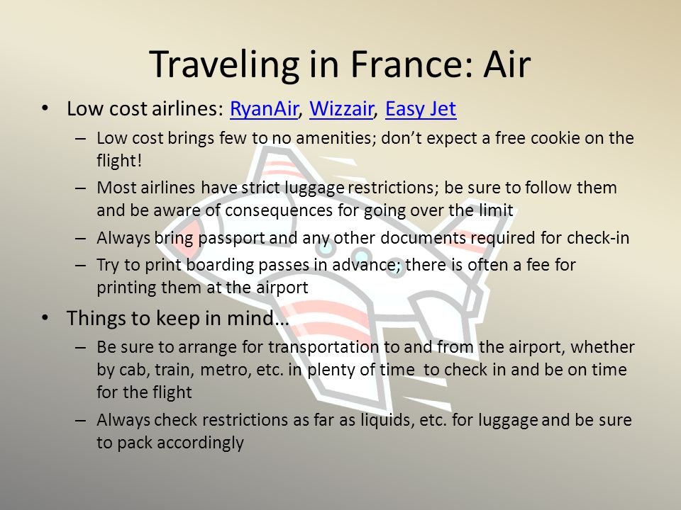 Traveling in France: Air
