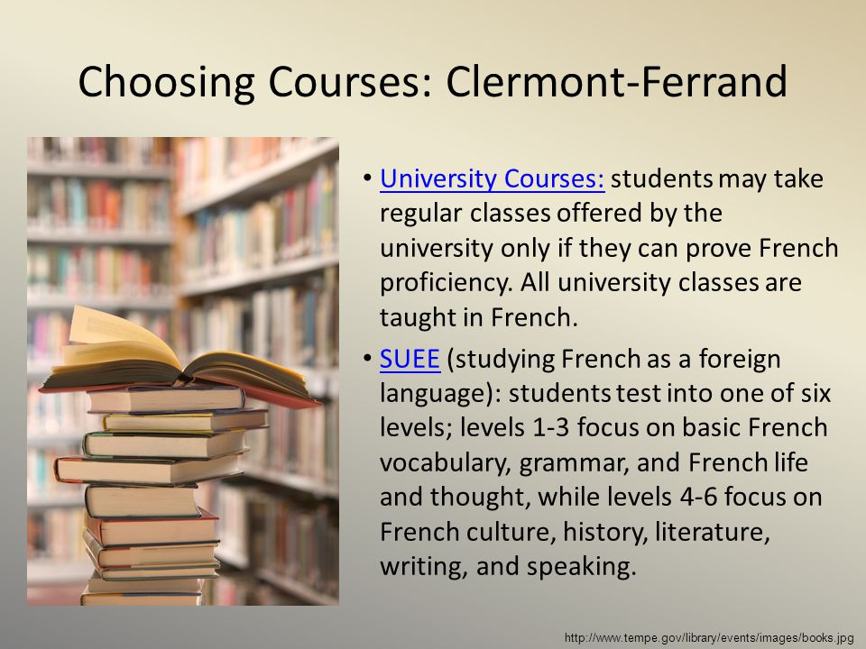 Choosing Courses: Clermont-Ferrand