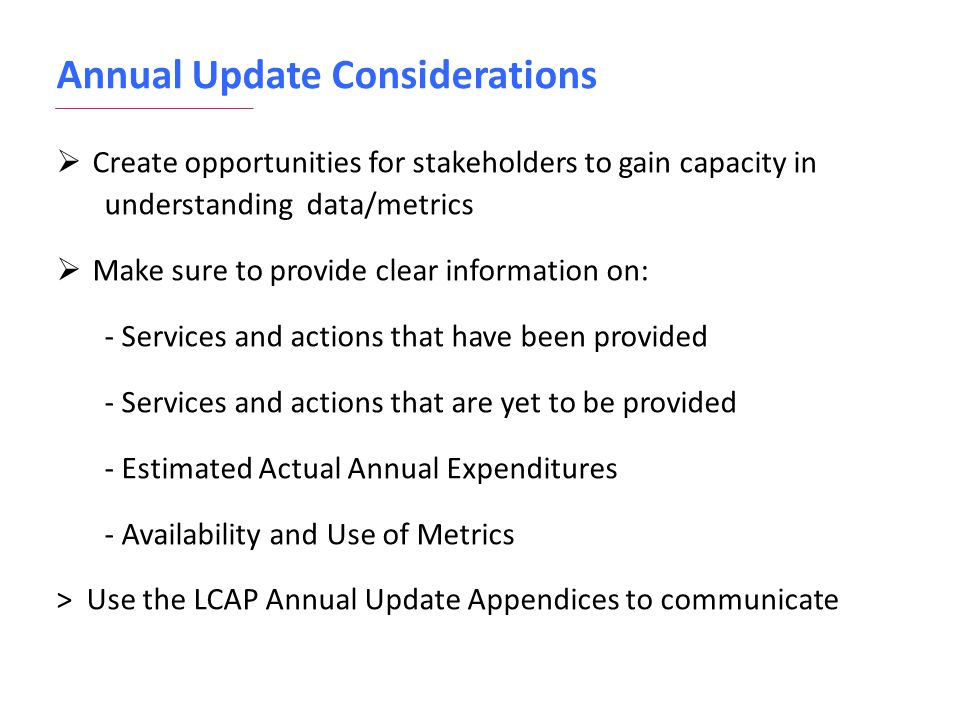Annual Update Considerations