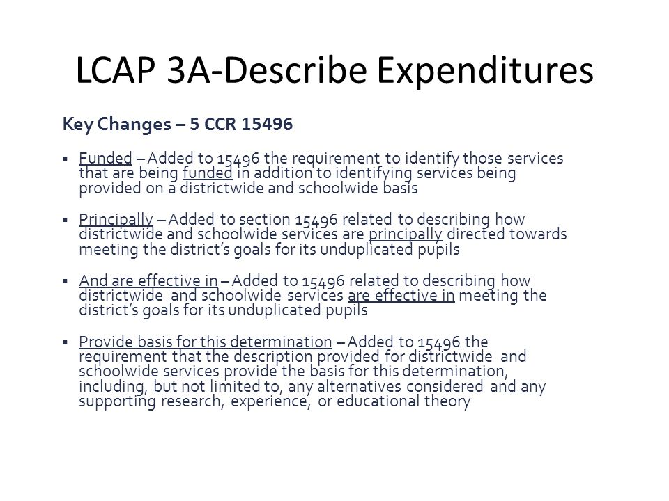 LCAP 3A-Describe Expenditures