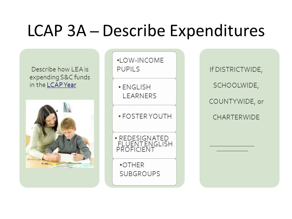 LCAP 3A – Describe Expenditures