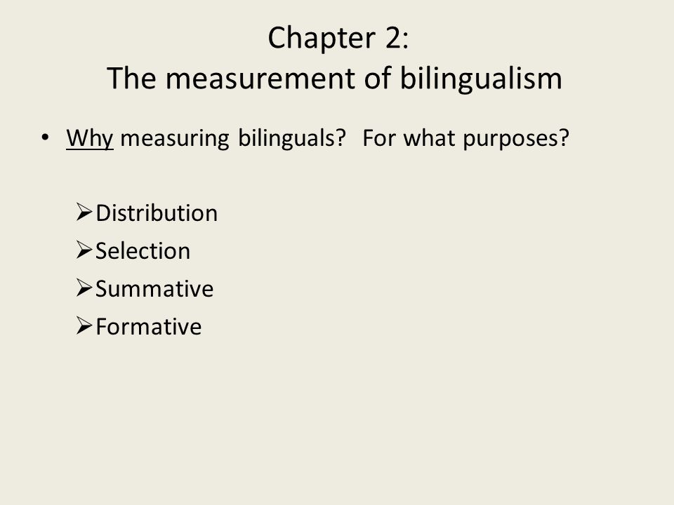 :Chapter 2 The measurement of bilingualism