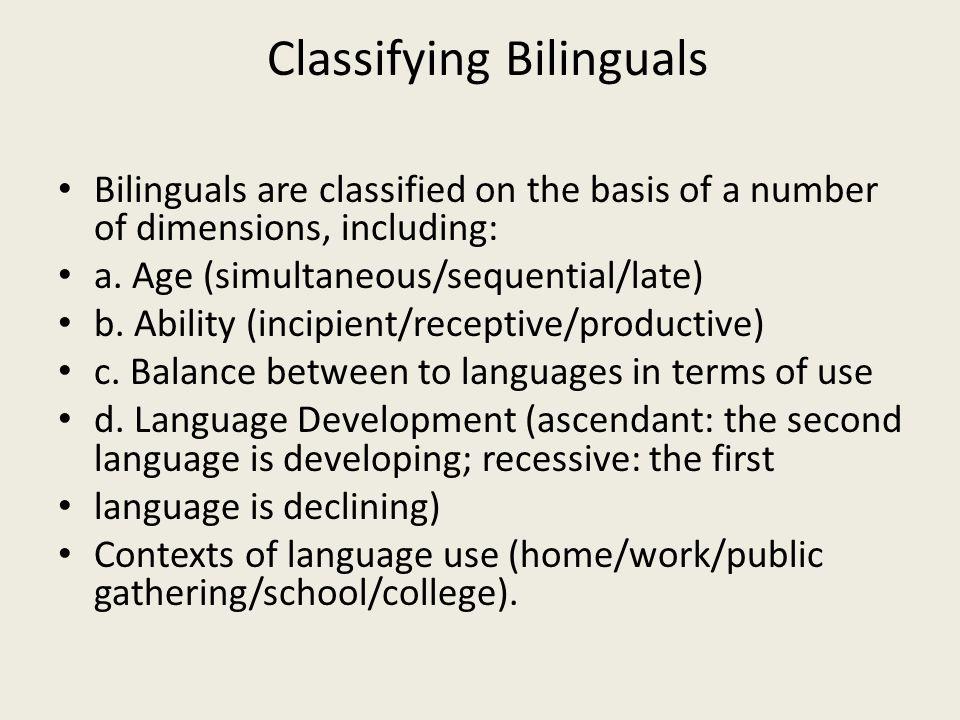 Classifying Bilinguals