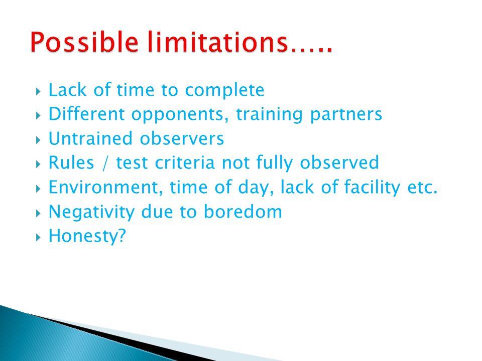 Possible limitations…..