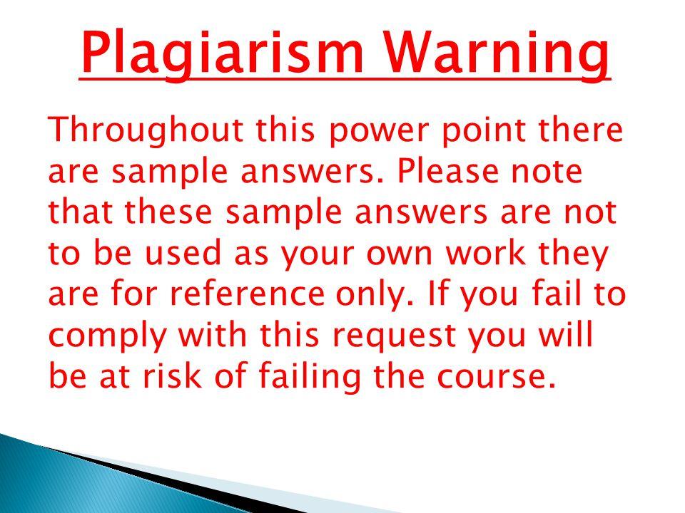 Plagiarism Warning