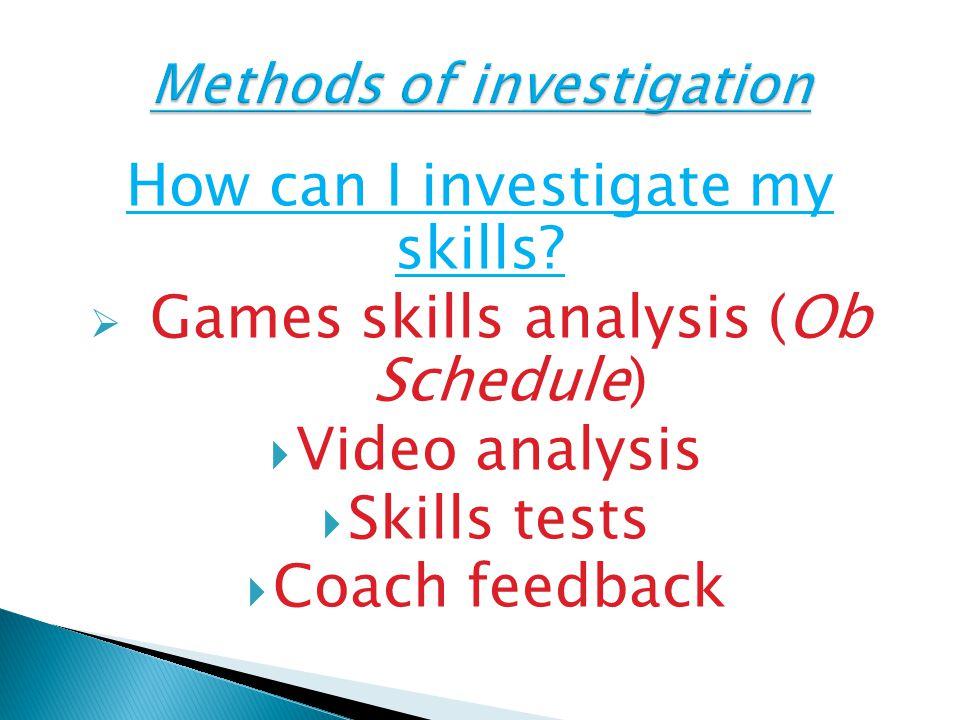 Methods of investigation