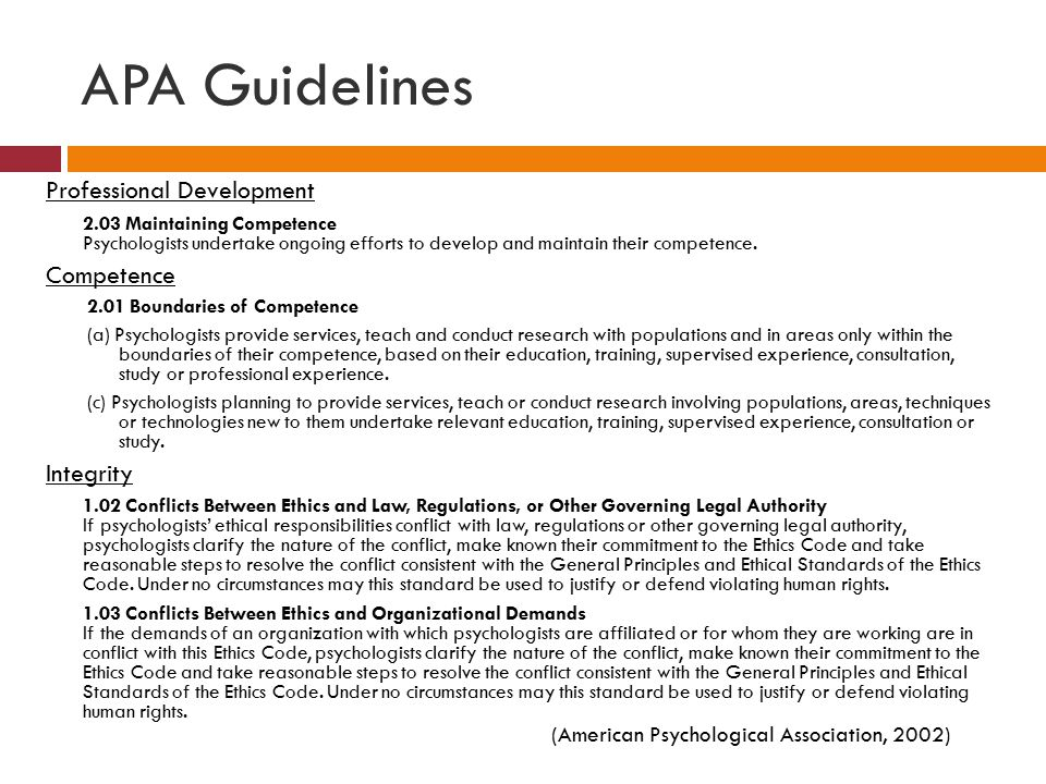 APA Guidelines Professional Development Competence Integrity