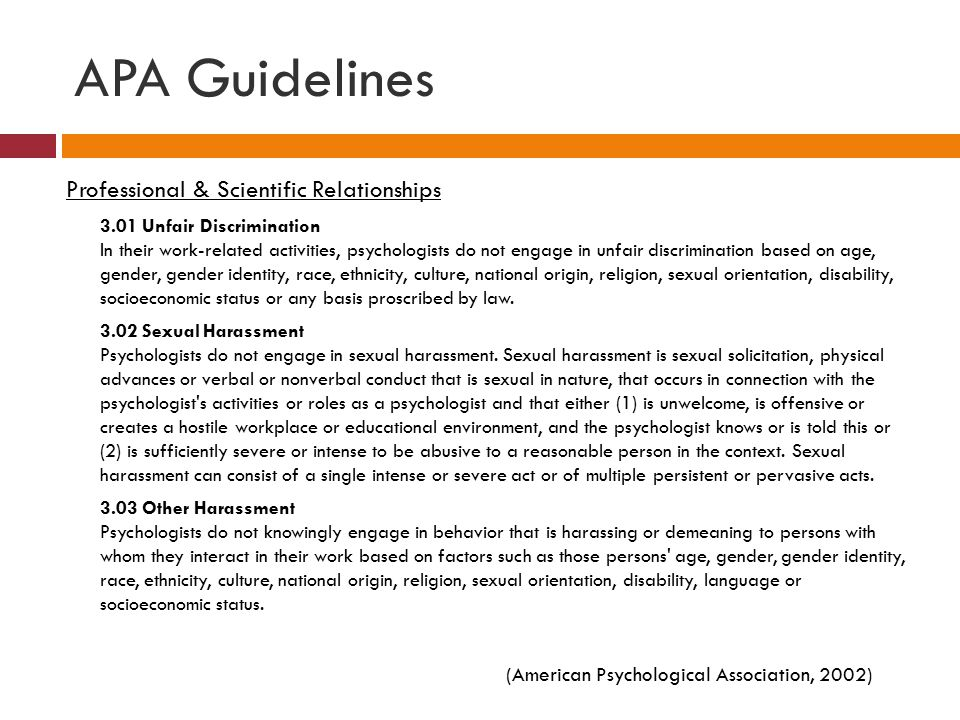 APA Guidelines Professional & Scientific Relationships