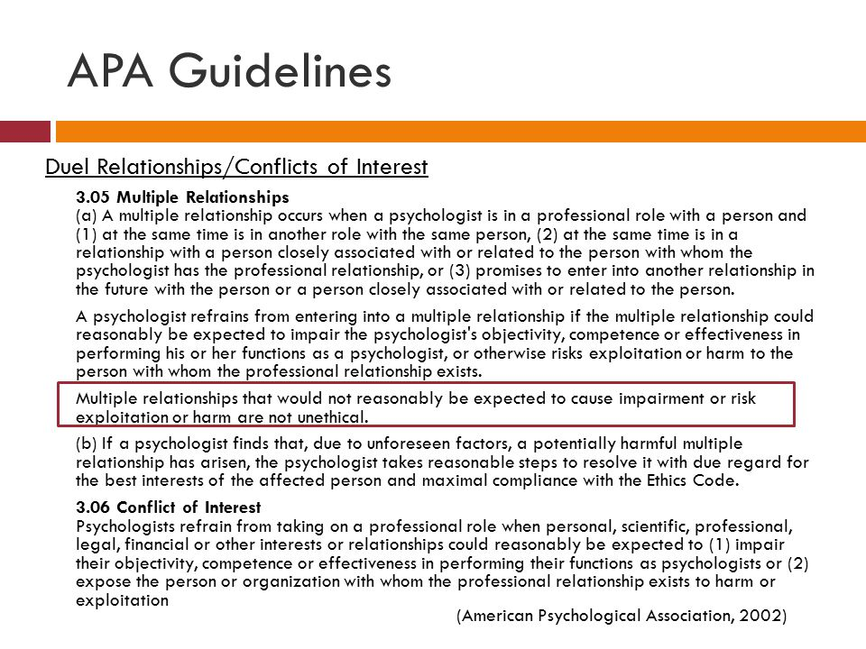 APA Guidelines Duel Relationships/Conflicts of Interest