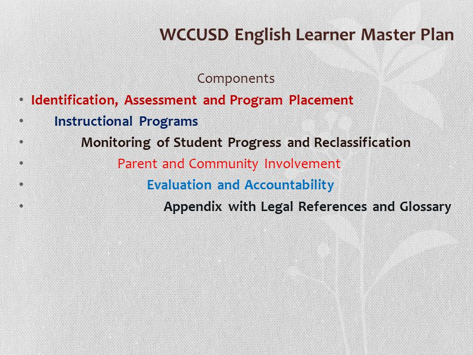 WCCUSD English Learner Master Plan