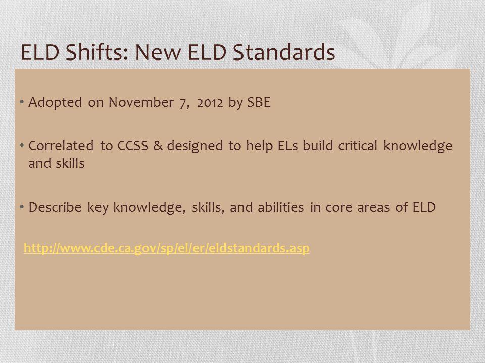 ELD Shifts: New ELD Standards