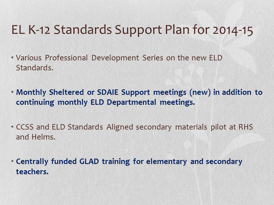 EL K-12 Standards Support Plan for 2014-15