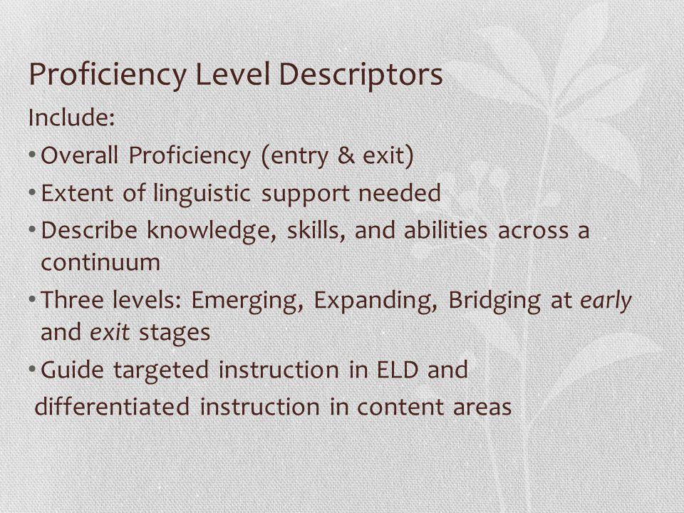 Proficiency Level Descriptors