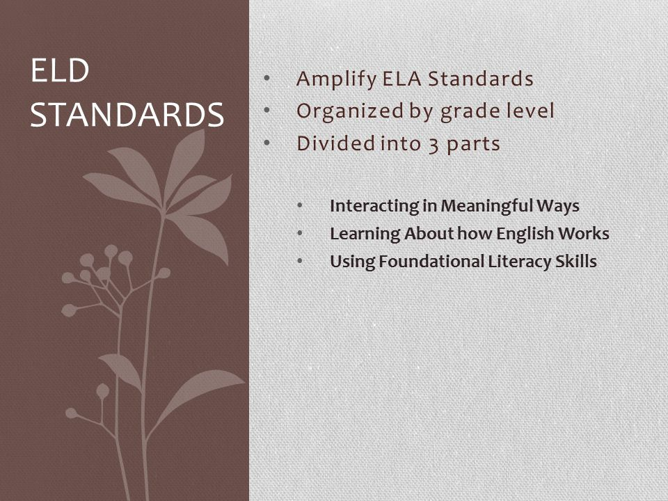 ELD Standards Amplify ELA Standards Organized by grade level