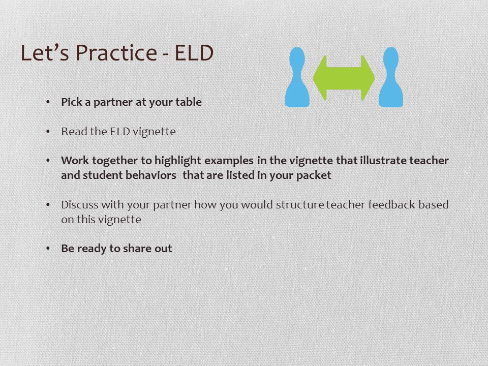 Let's Practice - ELD Pick a partner at your table