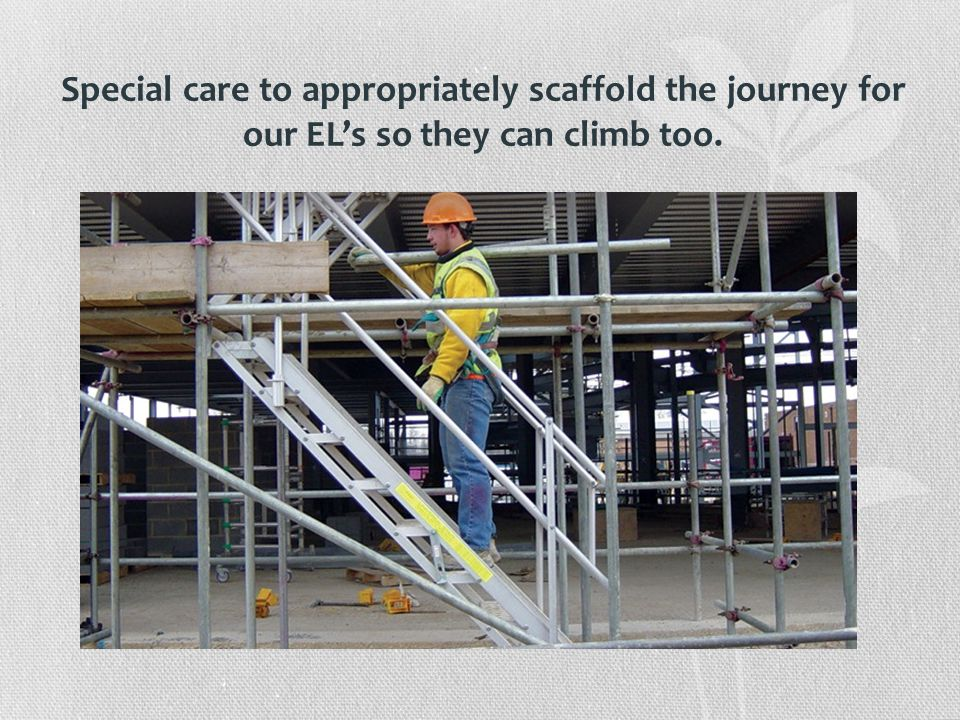 Special care to appropriately scaffold the journey for our EL's so they can climb too.