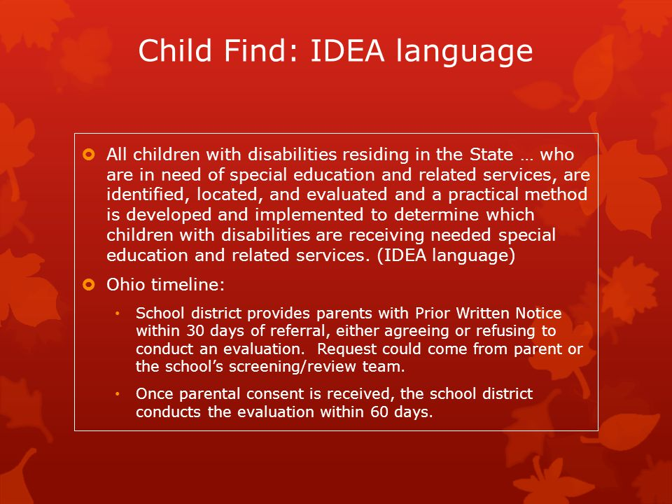 Child Find: IDEA language