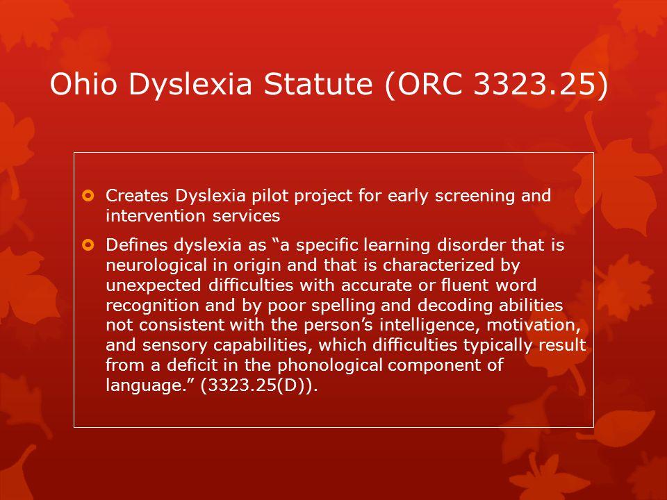 Ohio Dyslexia Statute (ORC 3323.25)