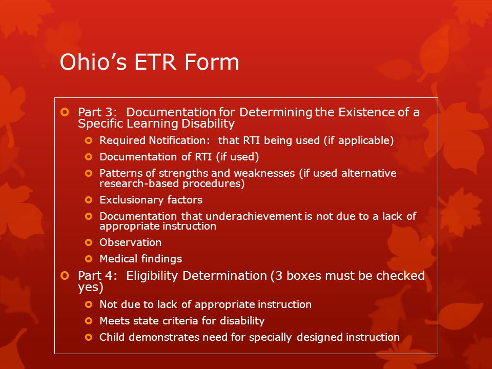 Ohio's ETR Form Part 3: Documentation for Determining the Existence of a Specific Learning Disability.