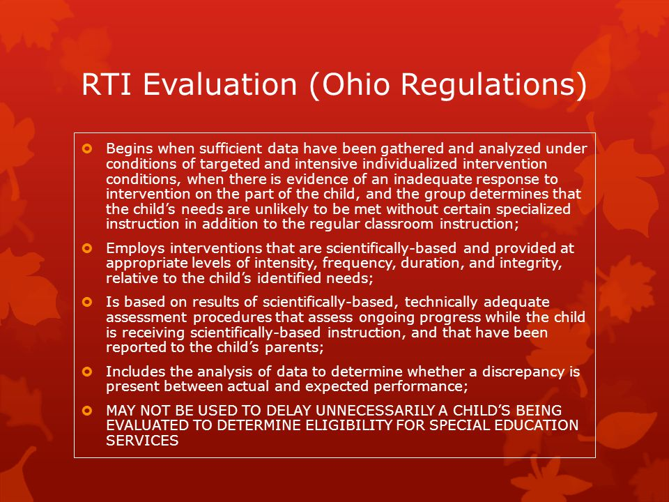 RTI Evaluation (Ohio Regulations)