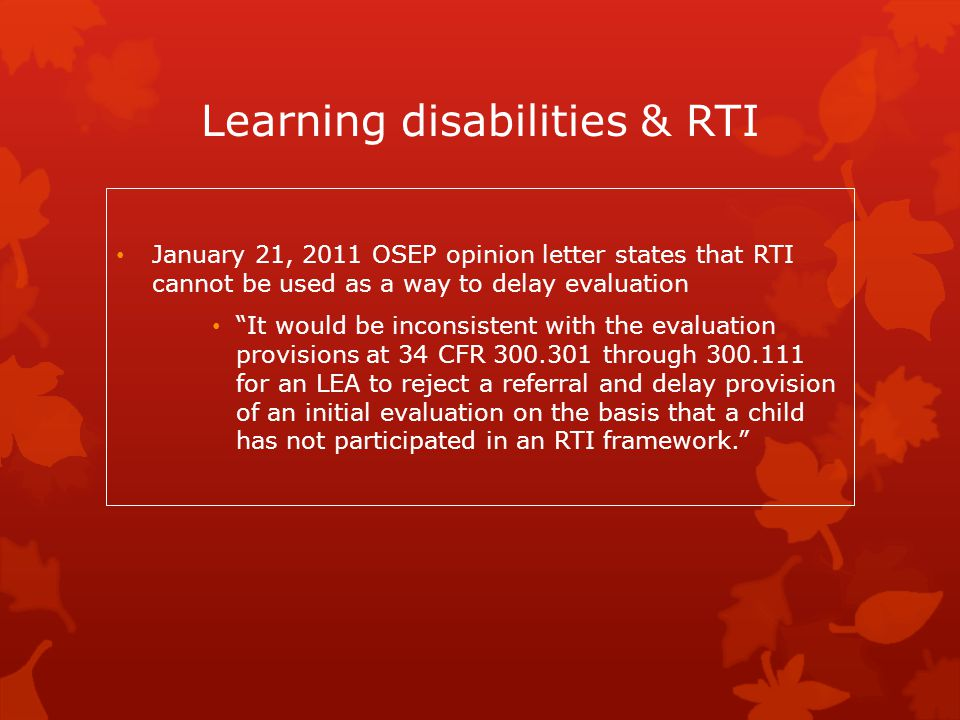 Learning disabilities & RTI