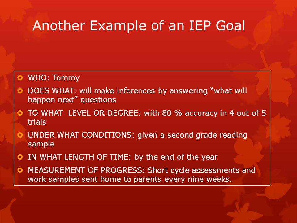 Another Example of an IEP Goal
