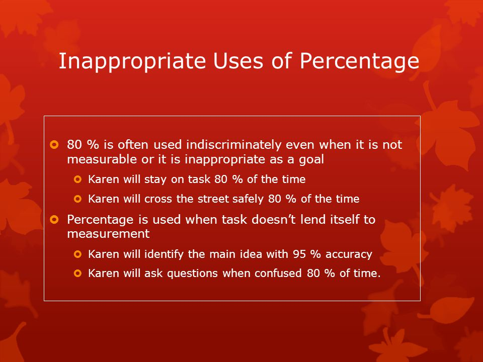 Inappropriate Uses of Percentage