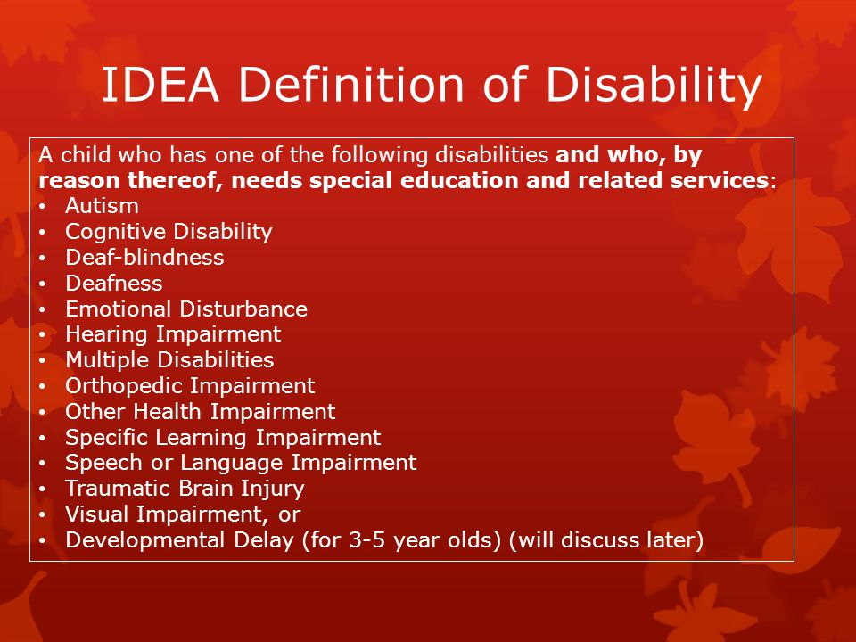 IDEA Definition of Disability