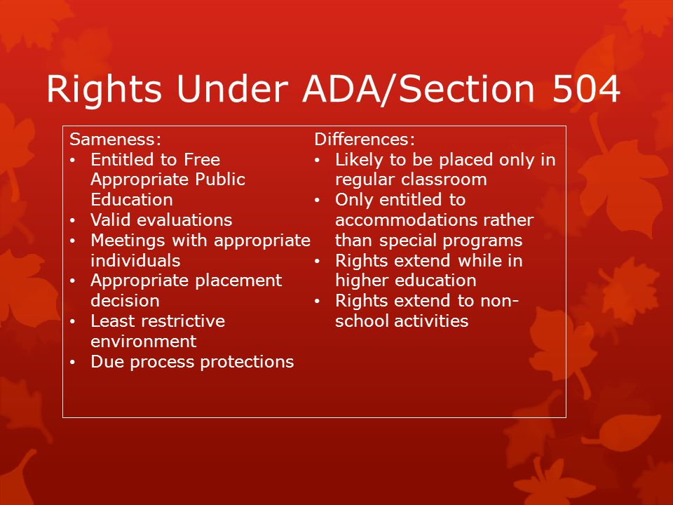 Rights Under ADA/Section 504