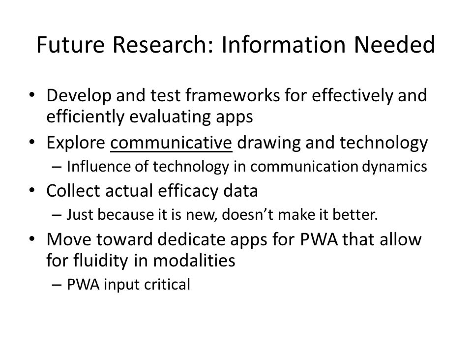 Future Research: Information Needed